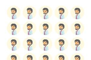 Office worker emoticons set