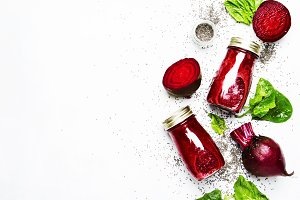 Delicious beetroot smoothies in glas