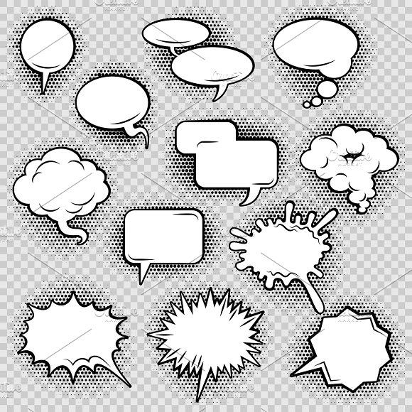 Comic speech bubbles icons