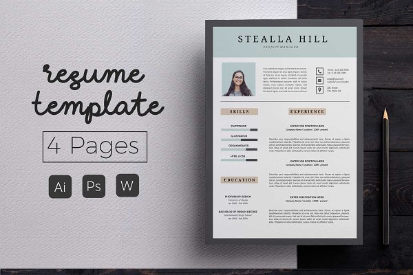 4 Page Resume CoverLetter Template PSD