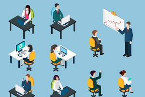 Business people isometric pictograms