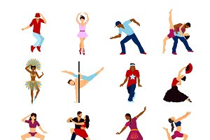 People dancing icons set