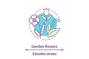 Garden flowers concept icon