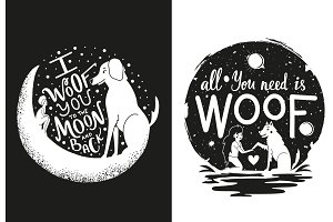 Woof you dog poster set