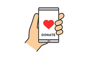 Smartphone donation app color icon