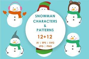 12+12 Snowman Character Set