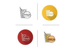 Burger and soda icon