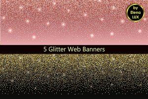 5 Glitter Web Banner Set