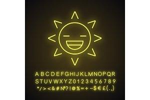 Laughing sun smile neon light icon