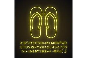 Flip flops neon light icon