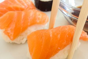 Salmon and caviar rolls served on a