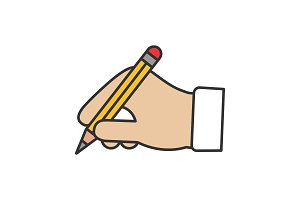 Hand holding pencil color icon