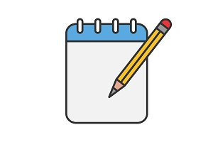 Notepad with pencil color icon