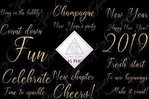 New Years Word Art Clipart