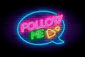 Follow me neon sign