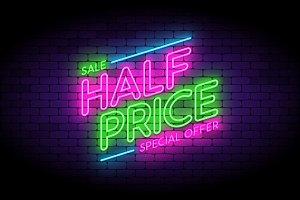 Half price neon sign