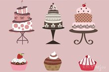 Cakes and Cupcakes Clipart in Vector