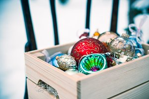 Christmas decoration balls in a wood