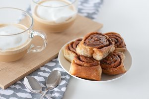 Cinnamon rolls and cup of coffe