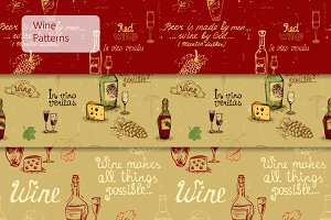 Seamless wine patterns