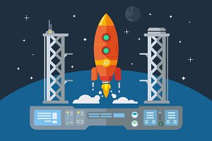 Rocket Startup flat illustration