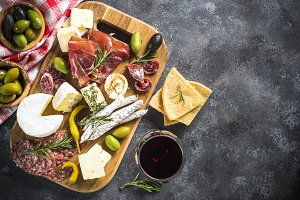 Antipasto board with sliced meat