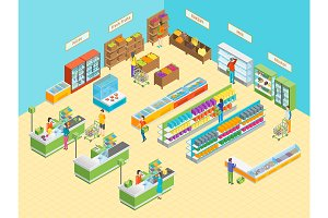 Supermarket or Shop Isometric View.