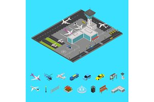 Airport Concept 3d Isometric View.