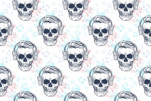 Seamless color pattern with skull