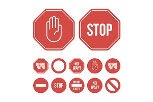 Flat design stop sign icons and sign