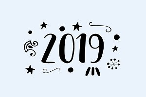 New Year 2019 Text Greeting Card