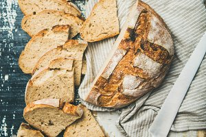 Sourdough wheat bread loaf cut in