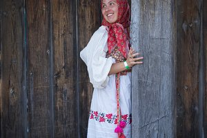 A woman in a Russian folk dress and
