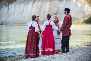 A group of people in Russian folk