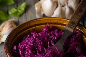 REd cabbage salad food photography