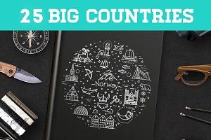 Line Travel concepts. 25 countries