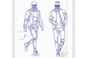 Vector set of two men with skull