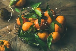 Fresh tangerines with leaves and
