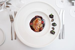 Foie gras dish on restaurant table