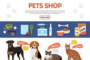 Flat pet shop elements collection