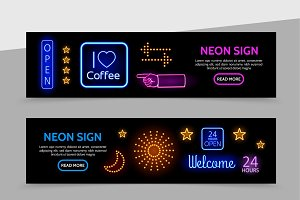 Advertising neon signs banners