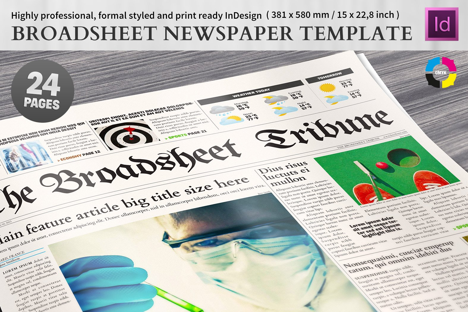 Broadsheet Newspaper Template ~ Magazine Templates ~ Creative Market