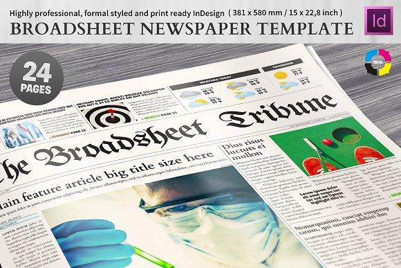 Broadsheet Newspaper Template Magazine Templates Creative Market