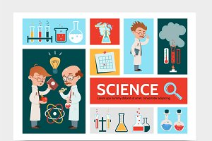 Scientific research infographic set