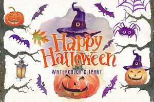 Happy halloween watercolor clipart