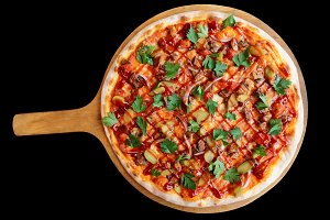 Meat pizza with bbq sauce