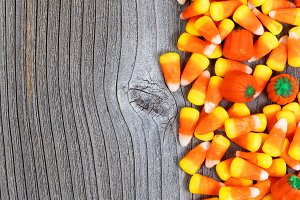 Halloween Candies on Rustic Wood