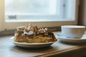 apple pie and swiss meringue by the