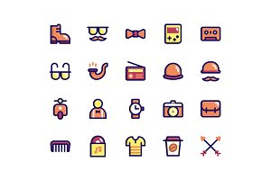Hipster Filled Line Icons