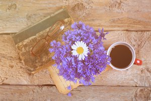 Bouquet of cornflowers and chamomile